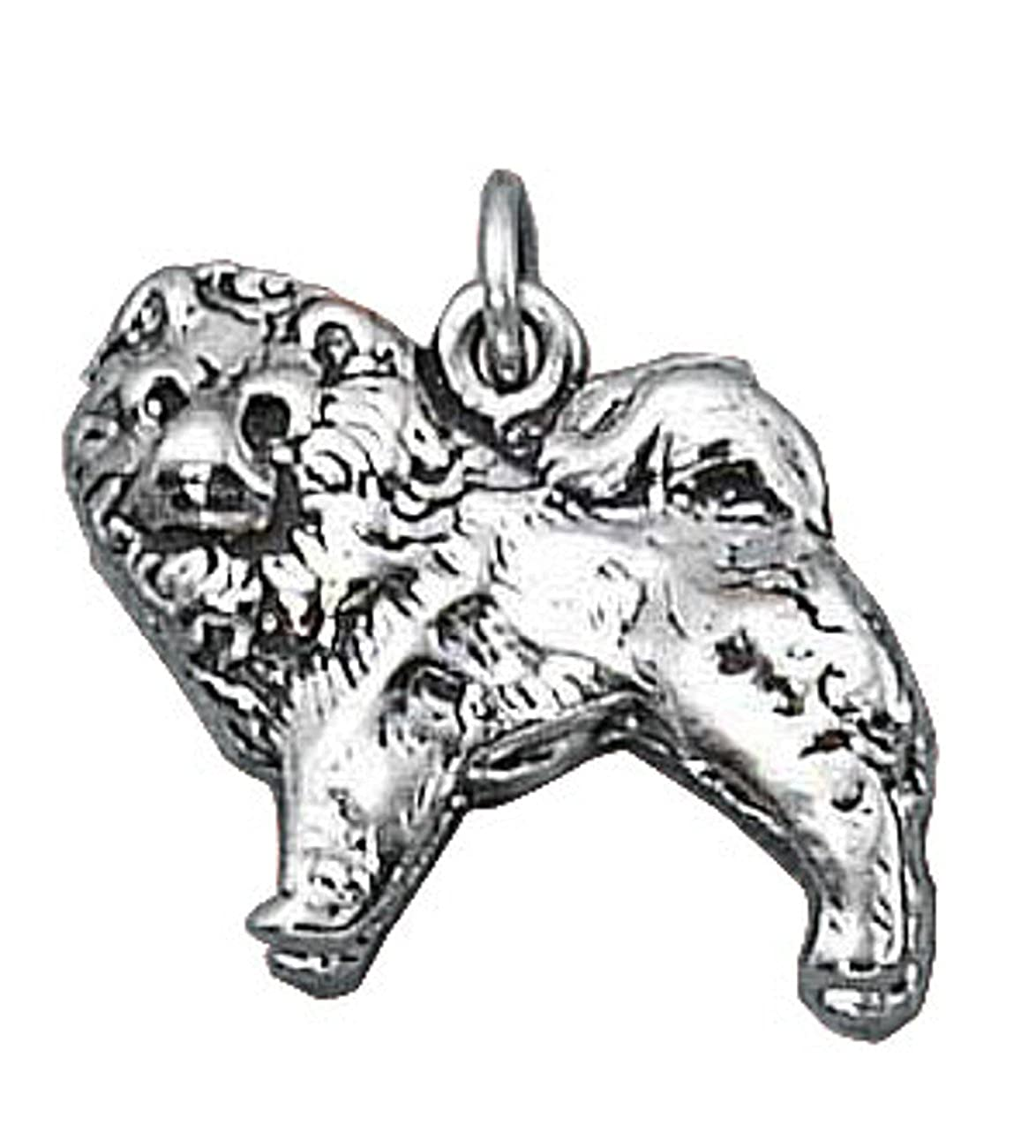 Sterling Silver Girls .8mm Box Chain 3D Chow Chow Dog Breed Pendant Necklace