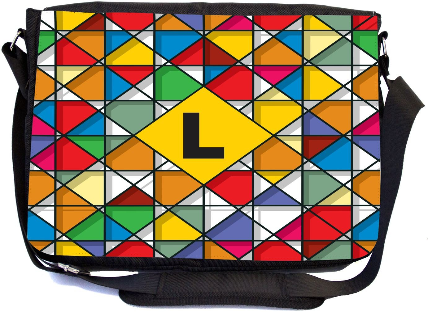 Rikki Knight Letter L Monogram Vibrant Colors Stained Glass Design Design Combo Multifunction Messenger Laptop Bag - with Padded Insert for School or Work - Includes Wristlet & Mirror
