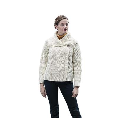 Ladies Patchwork 1 Button Collar Merino Wool Irish Cardigan at Women's Clothing store