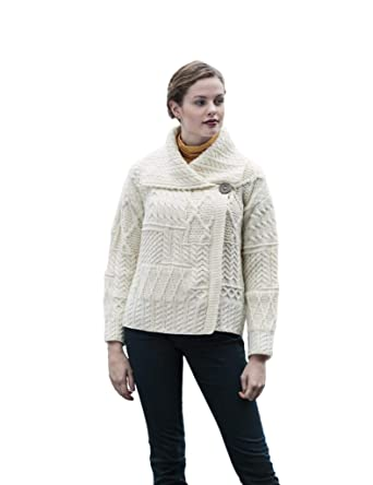 20f33c4e96 Carraig Donn White Patchwork Irish Merino Wool Aran Cardigan ...