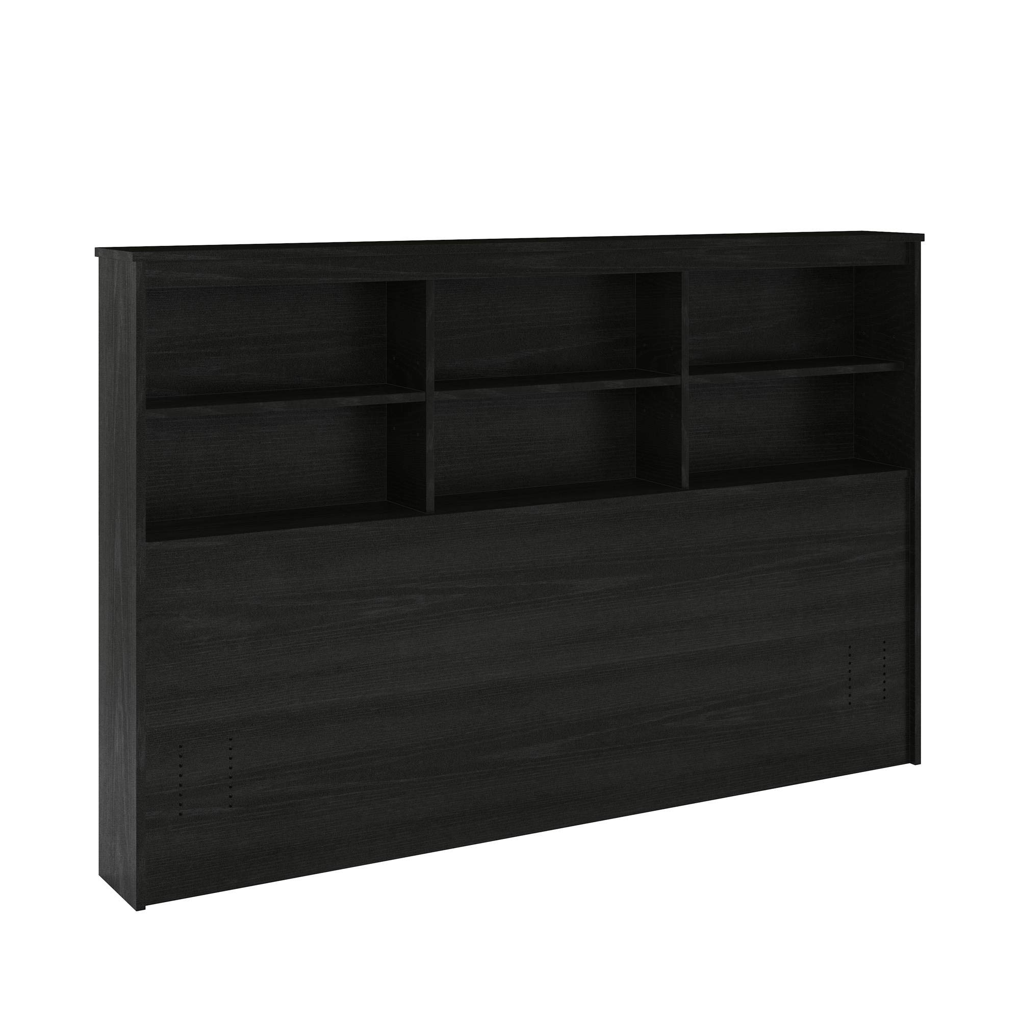 REALROOMS Lacey Full/Queen Storage Headboard, Black Oak by REALROOMS