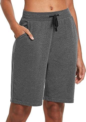 BALEAF - Pantalones cortos largos de algodón para mujer, 10 pulgadas, para yoga, bermudas y caminar, pantalones cortos: Amazon.es: Ropa y accesorios