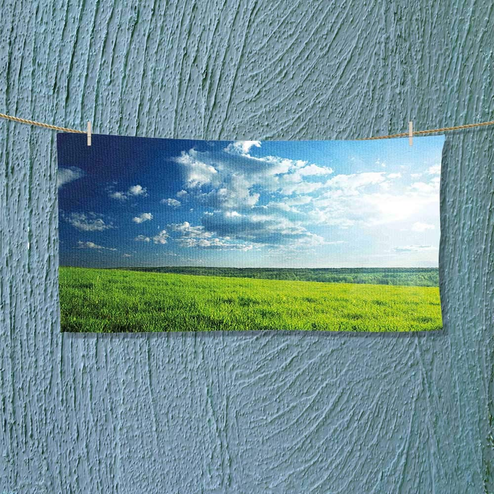 Nalahome Travel Towel Meadow Valley Under Cloud Sun Sky Spring Grass Country Image Lime Green Light Luxury Hotel & Spa Towel L27.5 x W11.8 inch