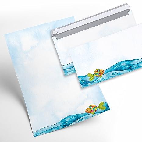 Juego de papel de cartas niños 50 hojas + 50 sobres peces arco iris de pescado