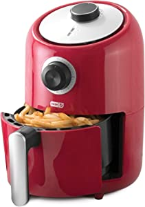 Dash DCAF150GBRD02 Compact Air Fryer Oven Cooker with Temperature Control, Non Stick Fry Basket, Recipe Guide + Auto Shut off Feature, 2qt, Red