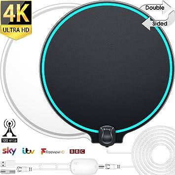 Biling Antena TV Interior- Antena TV portátil HD TV Digital con Amplificador de señal Inteligente para Canales de TV gratuitos Soporte 4K 1080 HD/VHF/UHF, Apto para Todos los Tipos de TV: Amazon.es: