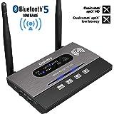 Golvery Adattatore audio wireless 3-in-1 per trasmettitore / ricevitore / bypass a lunga distanza Bluetooth 5.0 per TV Sistema audio stereo domestico, AptX HD e bassa latenza, NFC, doppia antenna