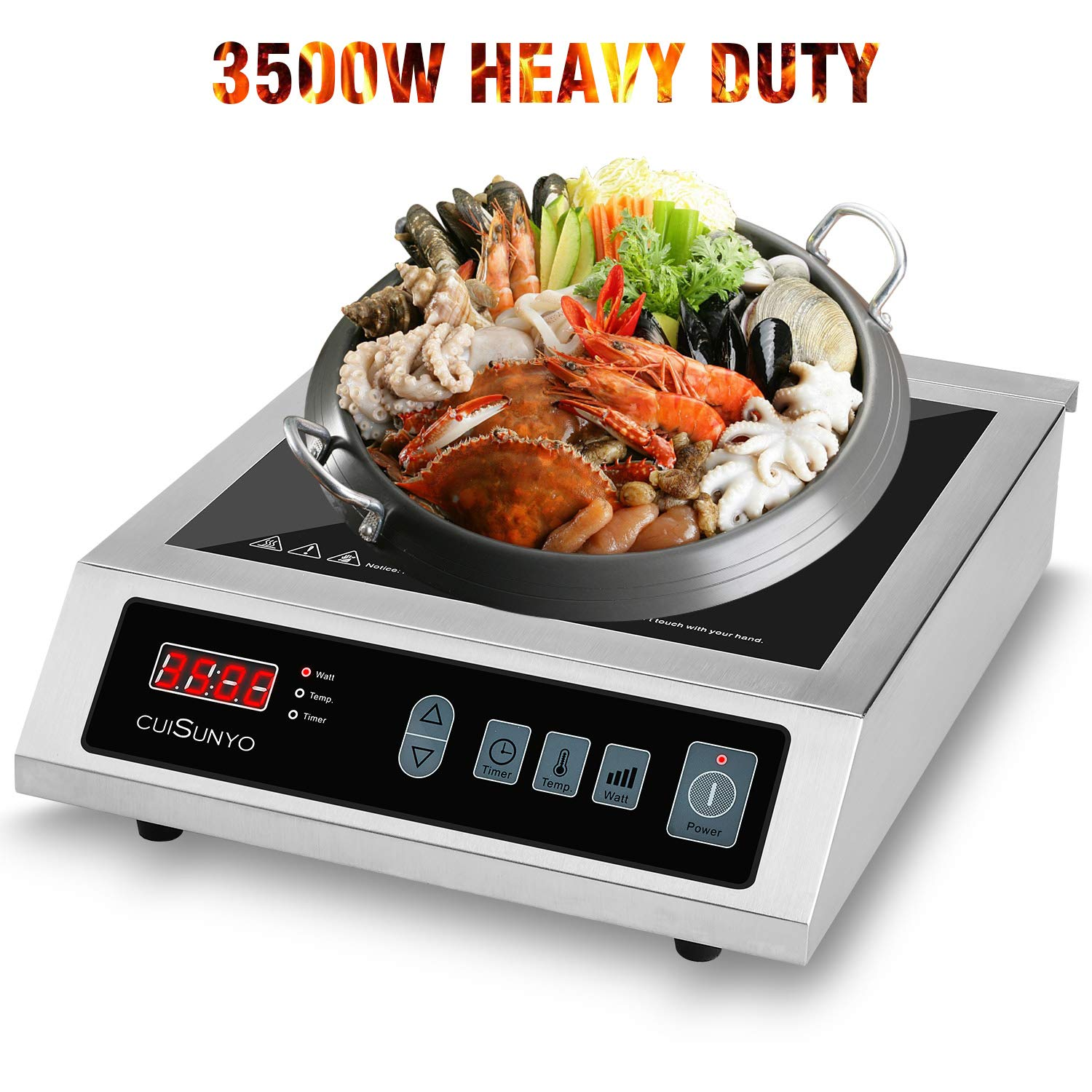 CUISUNYO Commercial Induction Cooktop,3500W Hi-power Eletric Countertop Burner, Digital Sensor and Kids Safety Lock, 8 Temperature Levels Suitable for Cast Iron Cookware-240V/60Hz