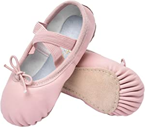 STELLE Girls Premium Authentic Leather Ballet Shoes Slippers for Kids Toddler