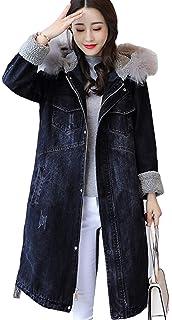 1526c2e50e8ac KEIMI(ケイミ)レディース デニムコート ロングアウター 秋冬 フード付き フャーコート 防寒 ひざ丈