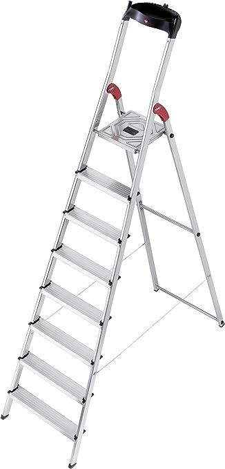 Hailo l60 easyclix - Escalera domestica l60 8 peldaños 233cm aluminio: Amazon.es: Bricolaje y herramientas