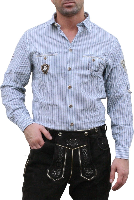 Trachtenhemd für Lederhosen mit Verzierung blau/gestreift