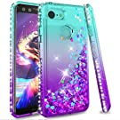 LeYi Google Pixel 3 Phone Case, Girl Women 3D Glitter Liquid Luxury Cute Personalised Clear Transparent Diamond Silicone Gel TPU Shockproof Phone Cover for Google Pixel 3 Turquoise Purple