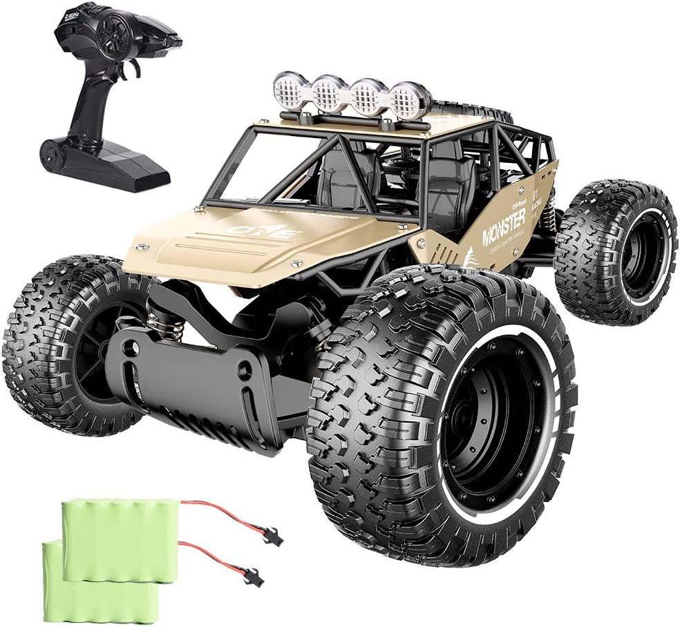 Jaysompro RC Cars-1:14 Scale 2WD High Speed 20KM/h All Terrains Remote Control Car with Two Rechargeable Batteries-Road Monster Truck for Boys and Adults: Toys & Games