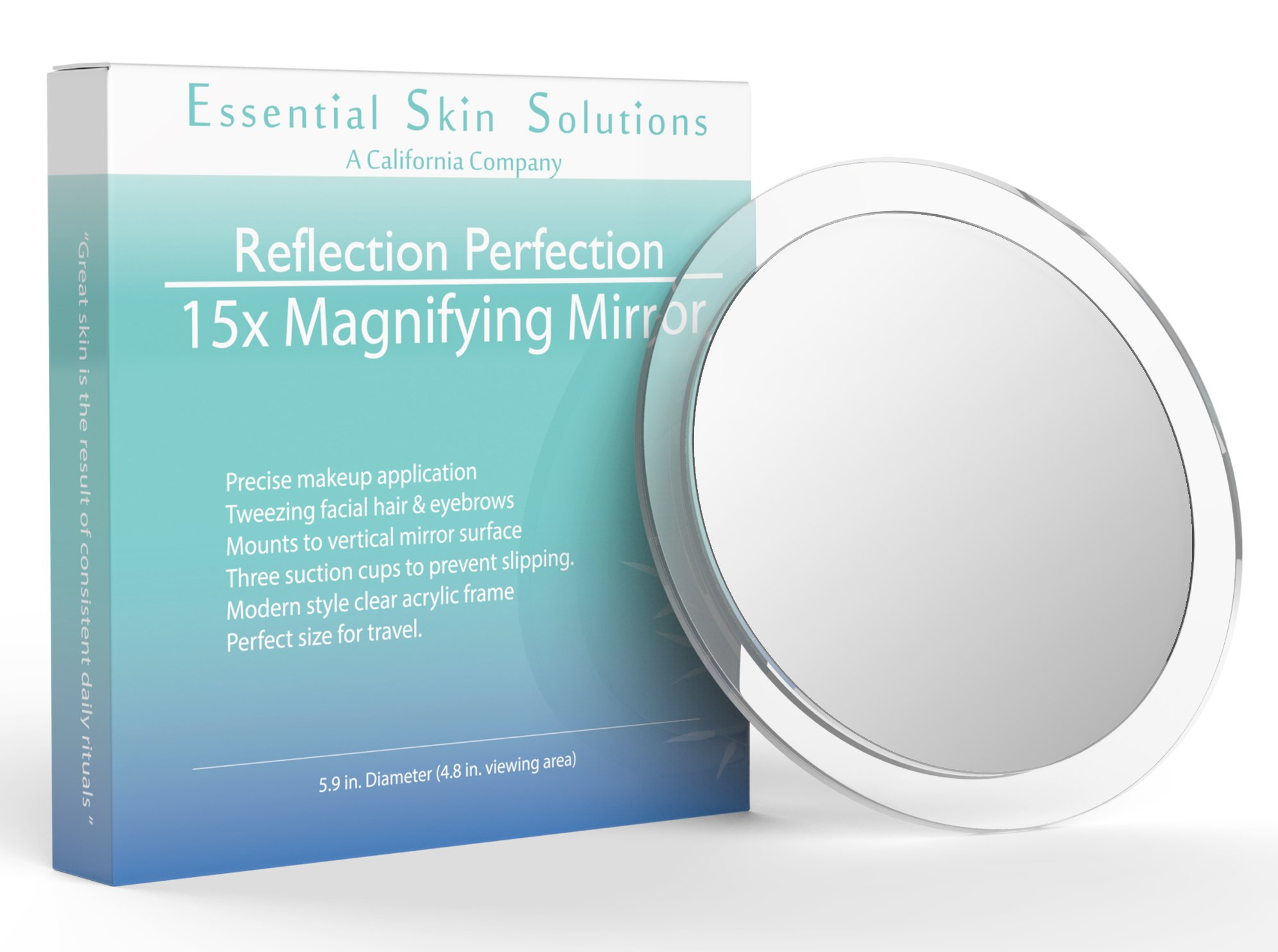 15X Magnifying Mirror - Use for Makeup Application - Tweezing - and Blackhead/Blemish Removal - 6 Inch Round Mirror with Three Suction Cups for Easy Mounting by Essential Skin Solutions