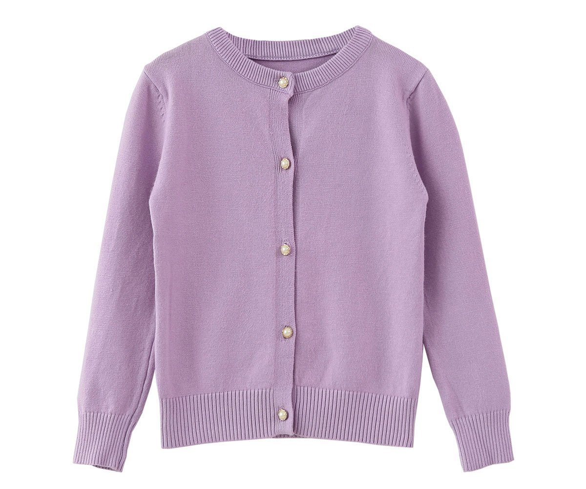 SMILING PINKER Little Girls Crewneck Cardigans Button Knitted Uniform Sweaters Solid Long Sleeves (Purple, 8-9)