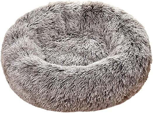 3Sizes Soft Faux Long Plush Round Donut Pet Bed Kennel Pet Nest, Non-Slip Pillow Warm Deep Cuddler Cat and Dog Snooze Sofa Cozy Fluffy Cushion Bed Autumn Winter Pet Supply Accessory Coffee, 17.7in