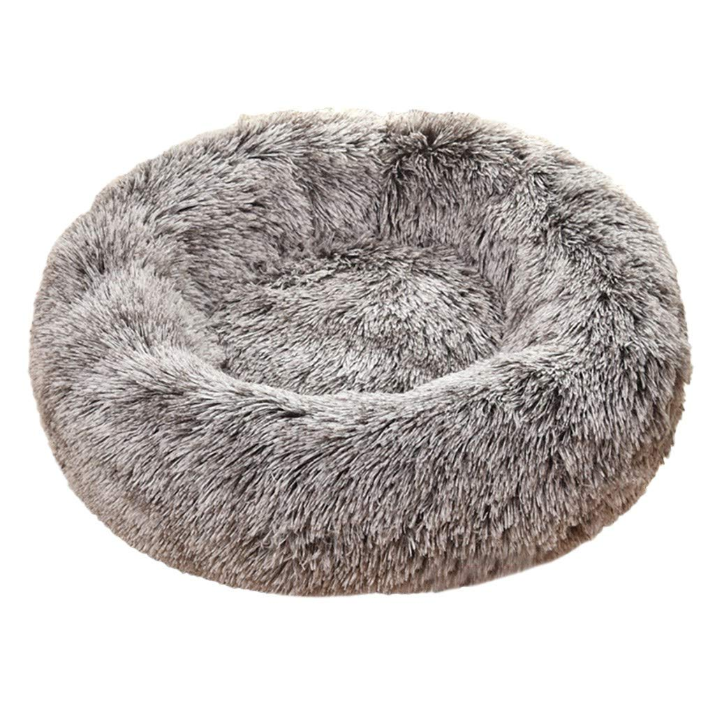 NLGToy Dog Round Cat Winter Warm Sleeping Bag Long Plush Soft Pet Bed Calming Bed,Attractive, Durable, Comfortable, Washable,for Cats or Small Dogs (Coffee, L) by NLGToy