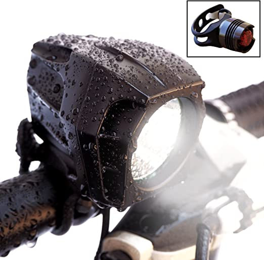 Amazon.com : Bright Eyes Fully Waterproof 1600 Lumen Rechargeable Mountain, Road Bike Headlight, 6400mAh Battery (Now 5+ Hours on Bright Beam). Comes w/Free Diffuser Lens and Free TAILLIGHT : Sports & Outdoors