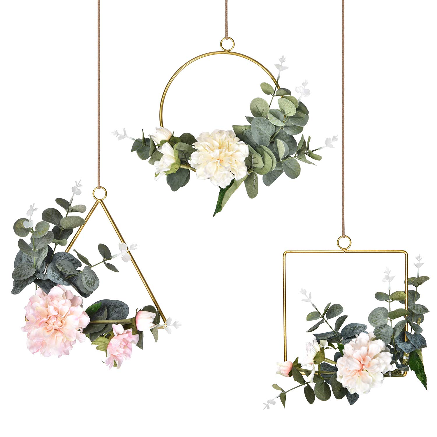 Dolicer Floral Hoop Wreath, Geometric Wire Round Triangle Square Hoop Frame of Artificial Peony Flower and Eucalyptus Vine Wreath for Wedding Backdrop Wall Garden Balcony Home Decor, 3 Pcs, White