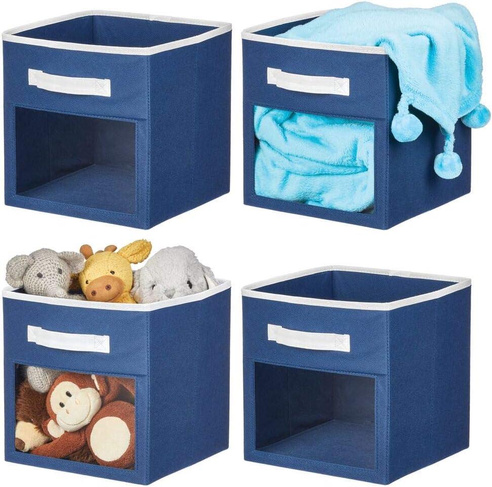 mDesign Soft Fabric Closet Storage Organizer Cube Bin Box, Clear Window and Handle - for Child/Kids Room, Nursery, Playroom, Furniture Units, Shelf, 4 Pack - Navy Blue/White