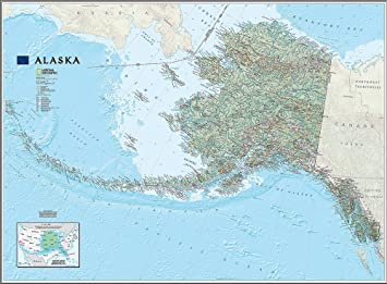 National Geographic\'s Alaska State Map Wall Mural -- Self-Adhesive ...
