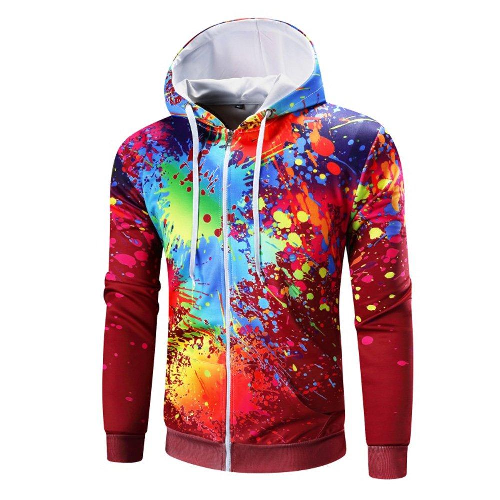 NiuZi Men's Slim Fit Long Sleeve Printing Hoodies Zippered Sweatshirt Hoodies (L, Red)