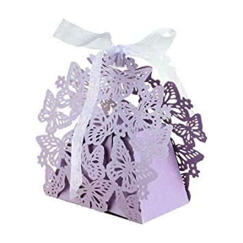 vLoveLife 50pcs Lavender Laser Cut Butterfly Wedding Party Favor Boxes Candy  Bag Chocolate Gift Box Bridal 5d897090ae