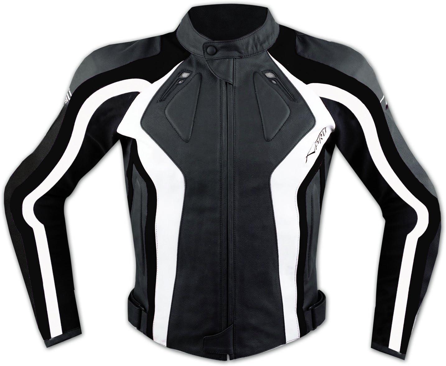 Racing Blouson Cuir Veste Moto Motard Protections CE Gilet Thermique rouge S