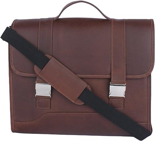 LIBERTYZENO Laptop Briefcase Business Office Leather Shoulder Bag Light Brown