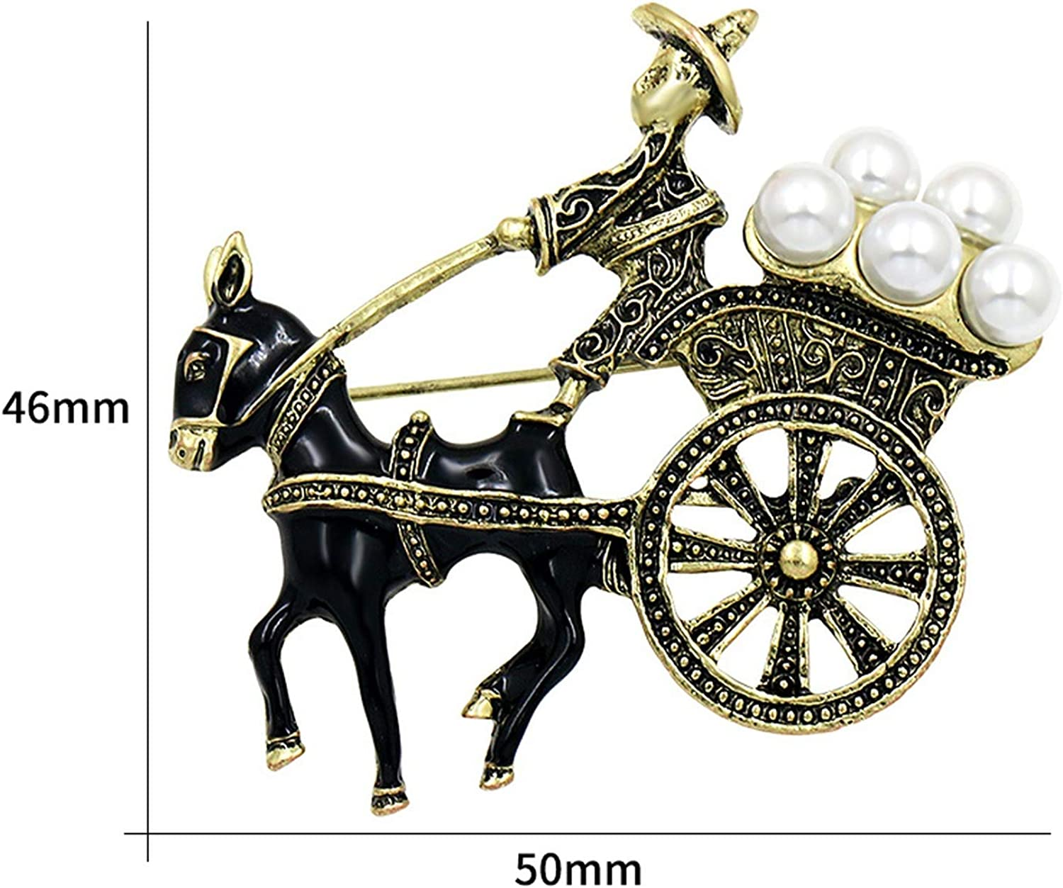 myeuphoria Brooch Pins-Vintage Style Horse Carriage Brooches with Simulated Pearls