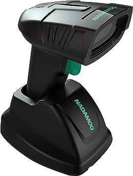 Handheld Wireless Laser Barcode Scanner Long Range Cordless Bar Code Reader Black