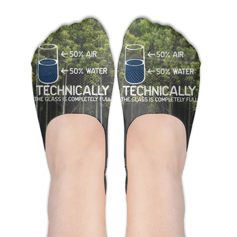 Technically The Glass Is Completely Science Sarcasm Polyester Cotton Deodorant Ankle Socks Non Slip Socks For Women Girl