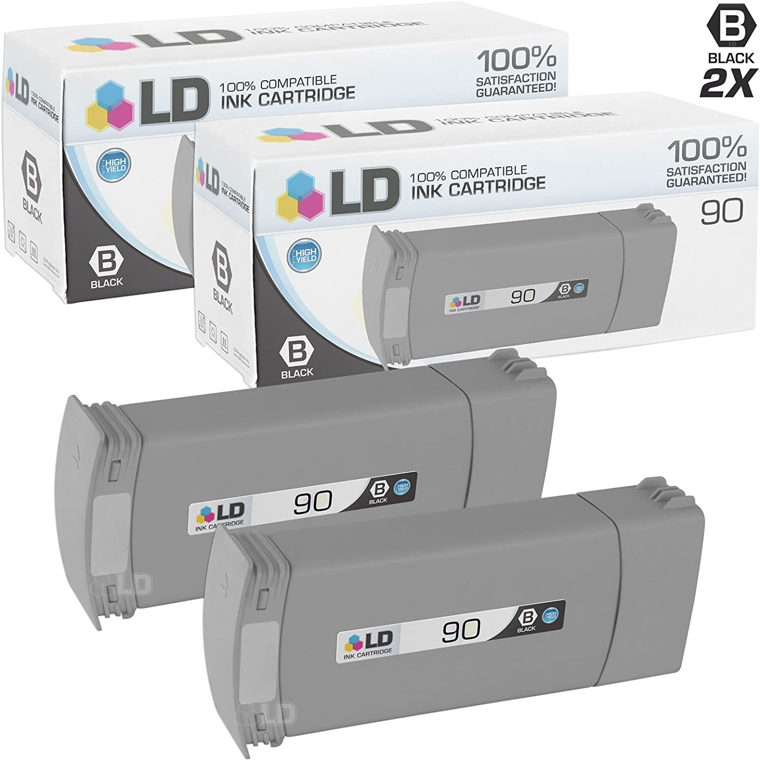 LD Remanufactured Ink Cartridge Replacement for HP 90 C5059A High Yield (Black, 2-Pack)