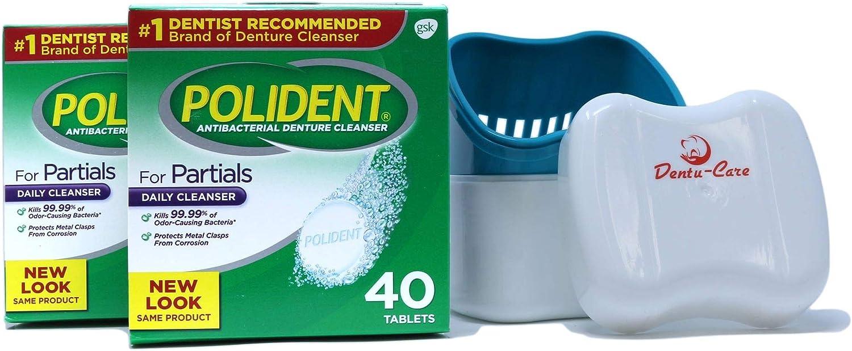 Polident Limpiador parcial de dentaduras 80 comprimidos paquete con estuche para vasos de limpieza de dentaduras con cesta de tapa: Amazon.es: Belleza