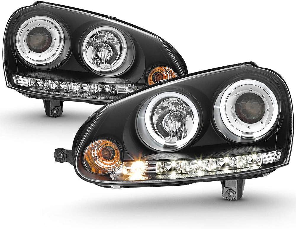 ACANII - For [Halogen Model] 2006-2009 Volkswagen GTI Jetta Rabbit LED Halo Black Housing Projector Headlights Headlamps