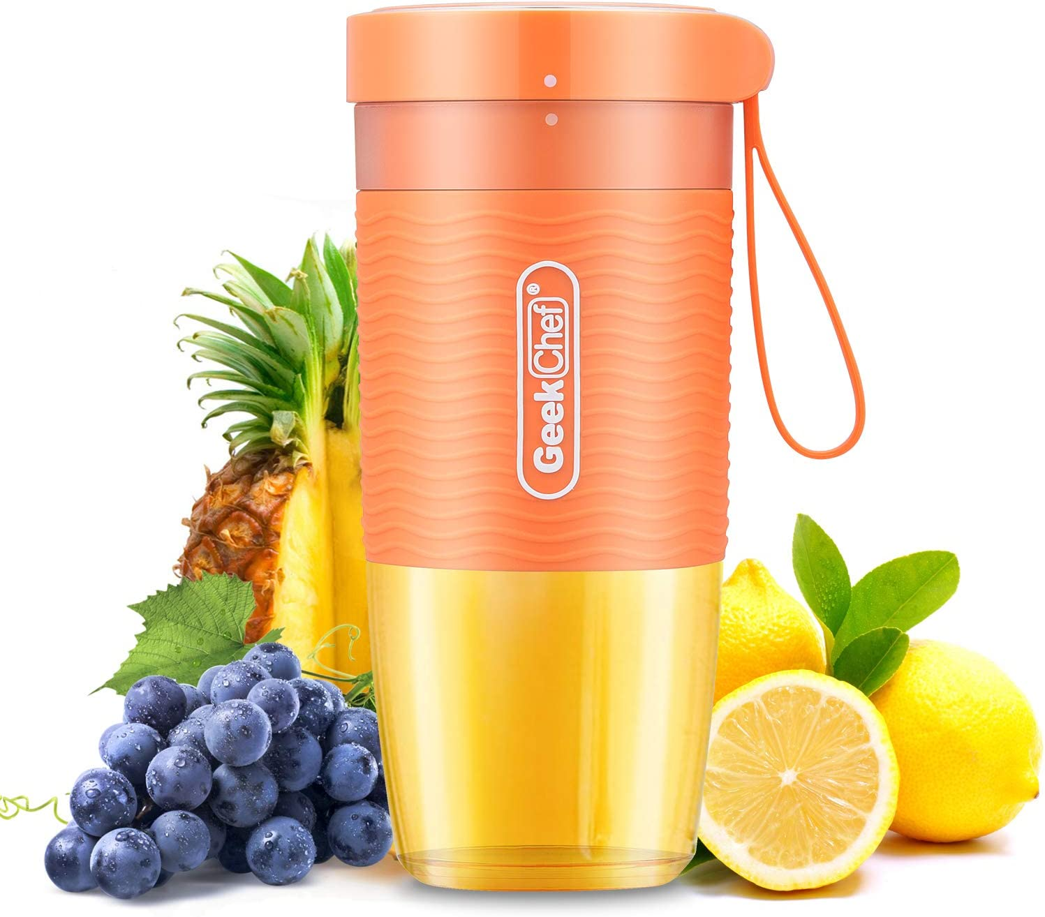 Geek Chef Portable Blender Mini Personal Blender Small Smoothie and Shakes Blender Cordless Small Blender Cup, USB Rechargeable Travel Blender BPA-Free Tritan,10oz/300ml, Orange