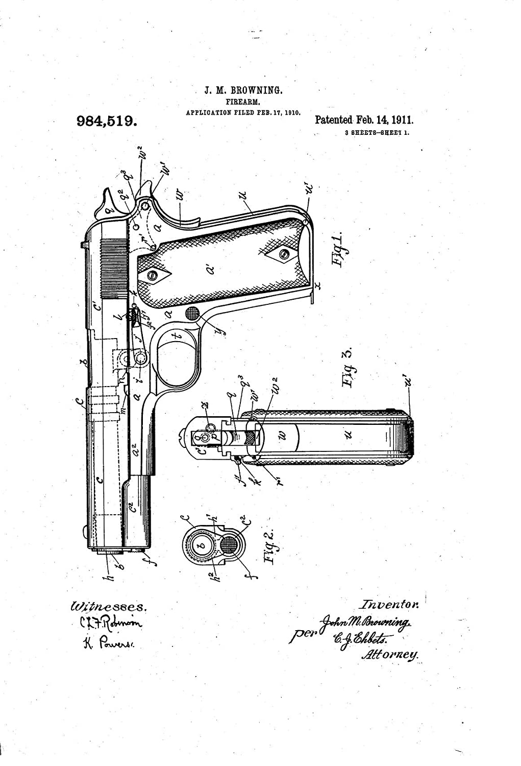 1911 Cutaway Diagram Pistol Also With Colt Exploded Parts Browning Patent Toys Games 1021x1500