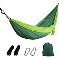"OYISIYI Portable Double Camping Hammock, 105"" Long X 65"" Wide, 599-Pound Capacity Lightweight Parachute Fabric Outdoor Travel Hammock, Accessories Included"