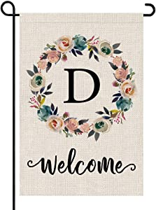 PARTY BUZZ Monogram Wreath Letter D Burlap Garden Flag Floral Initial, Double Sided, 12.5 x 18 Inch, Small Mini Outdoor Yard Flag