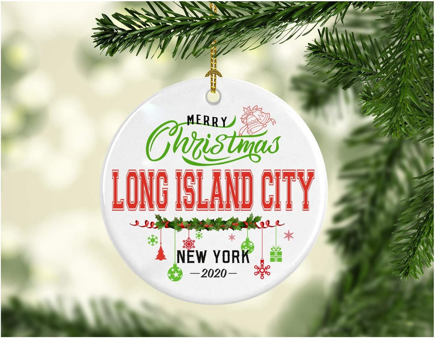 Christmas Decorations Tree Ornament - Gifts Hometown State - Merry Christmas Long Island City New York 2020 - Gift for Family Rustic 1St Xmas Tree in Our New Home 3 Inches White