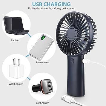 Bleu Ventilateur de poche portable Color/é LED Mini lumi/ère Batterie Power W//Strap Brand New