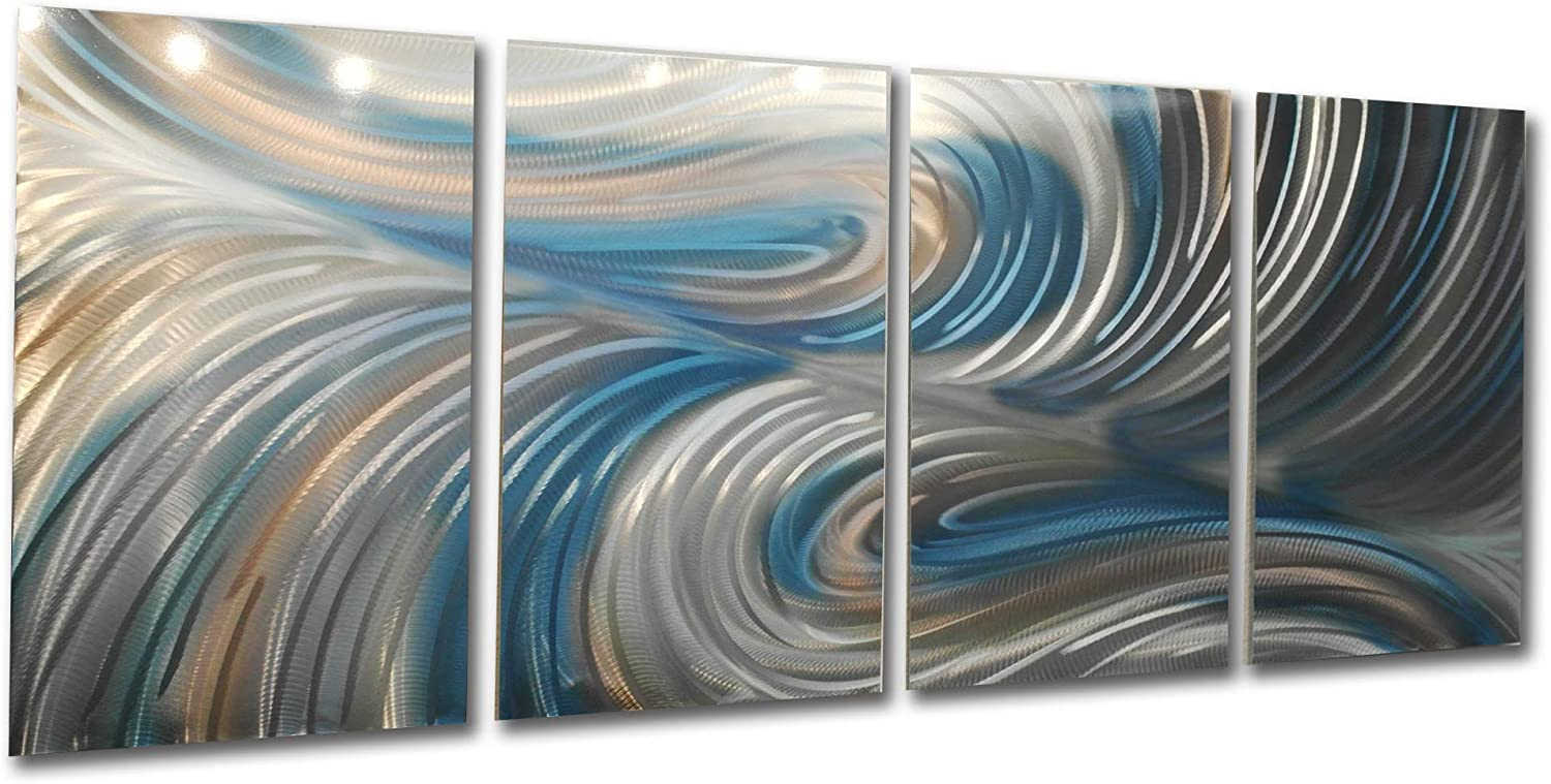 Blue Art Abstract Artwork Wall Art Contemporary Decor on Metal