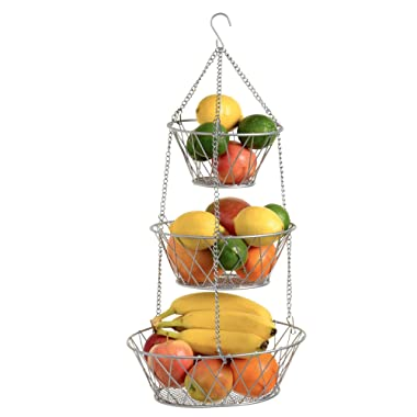 Blue Donuts Heavy Duty Silver 3-Tier Round Iron Hanging Basket - 25in Long/Powder Coated in X Pattern