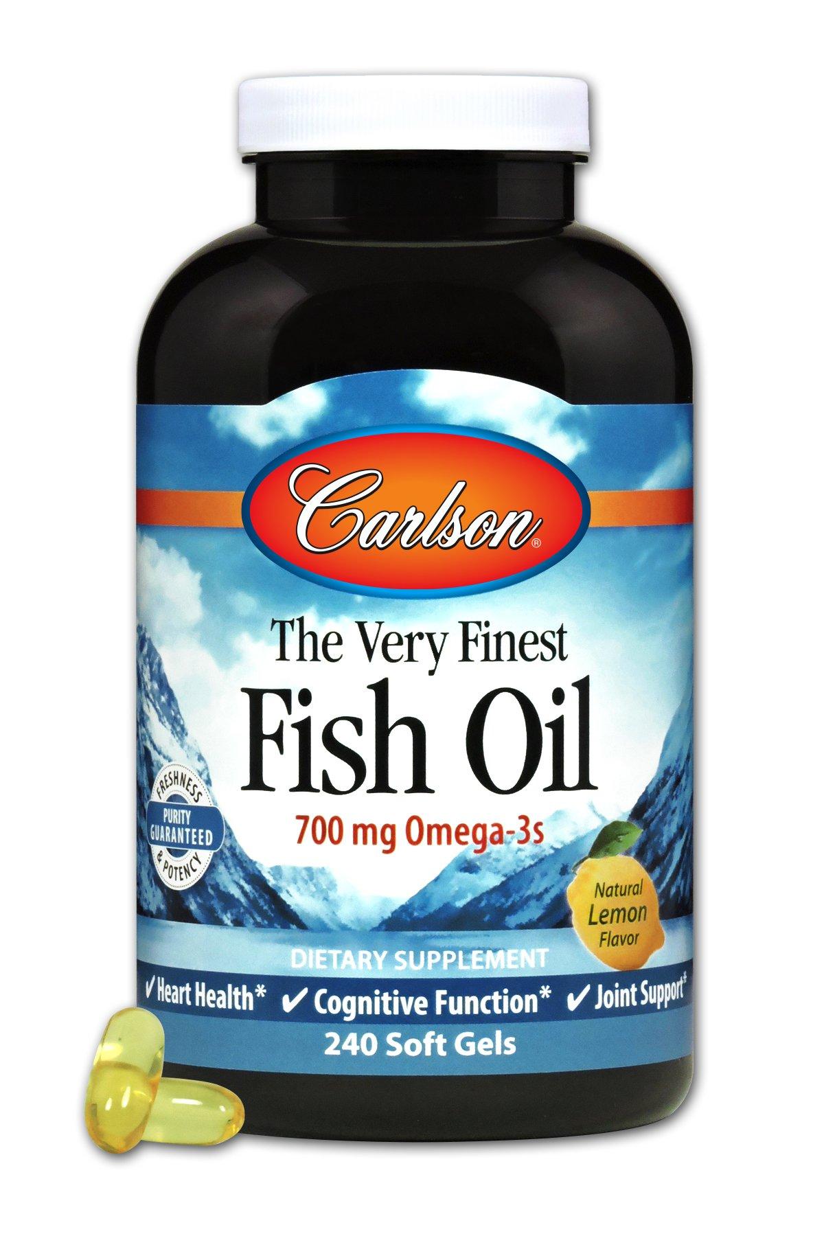 Carlson Labs Very Finest Fish Oil, Lemon, 240 Softgels