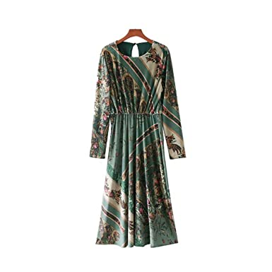 SHILINWEI Velvet Floral Pattern Back Hollow Out Long Sleeve Pleated Casual Mid Calf Vestidos