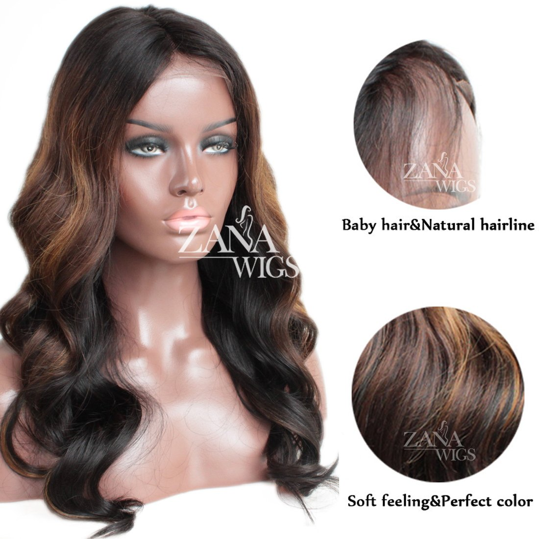 ZANA Brazilian Virgin Remy Hair Lace Front Wigs with Baby Hair Body Wave Glueless Human Hair Wigs for Black Women Ombre Color by Zana (Image #4)
