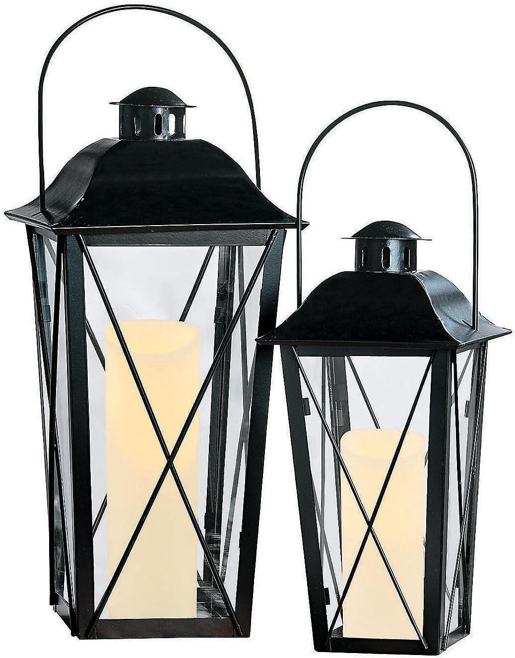 Amazon Com Black Lantern Set 2 Metal Lanterns Home Decorative Accents Health Personal Care