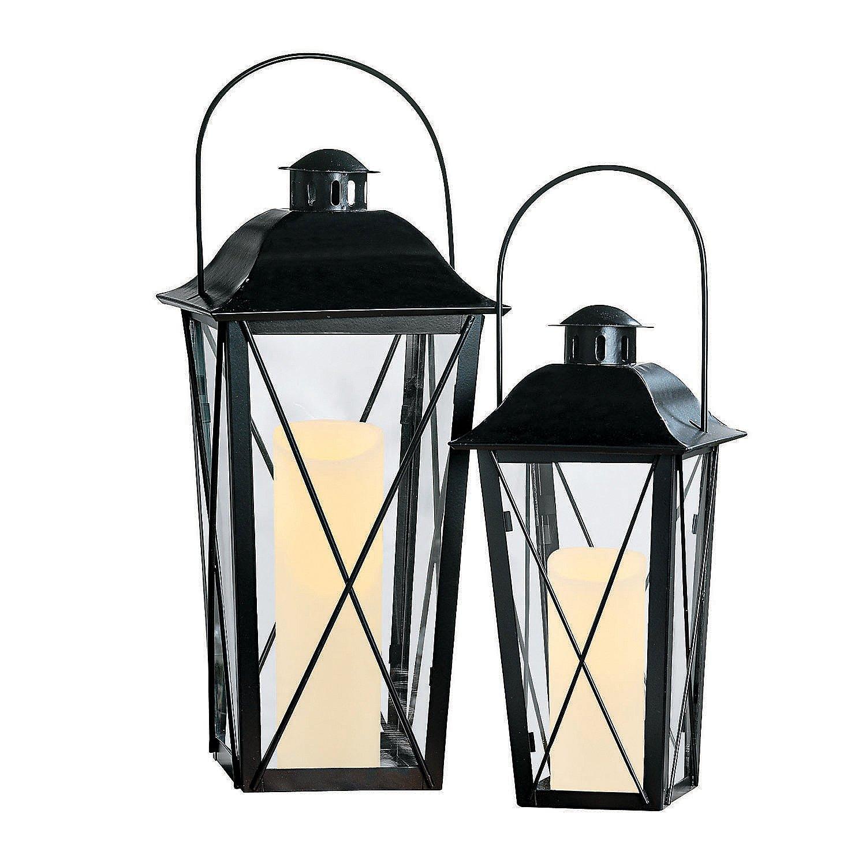 Fun Express - Black Lantern Set - Home Decor - Decorative Accessories - Home Accents - 2 Pieces