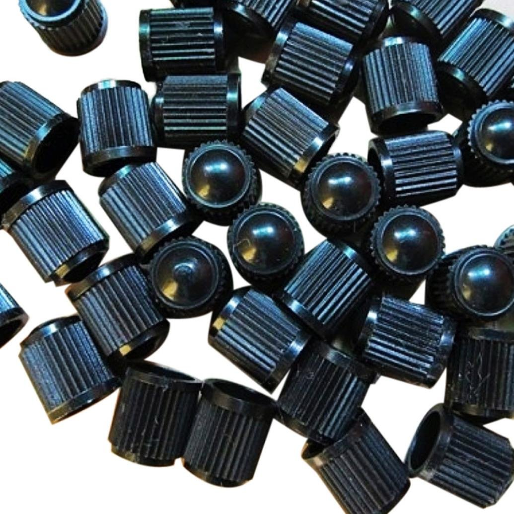 Ecosin 100Pcs Black Plastic Tire Valve Stem Caps